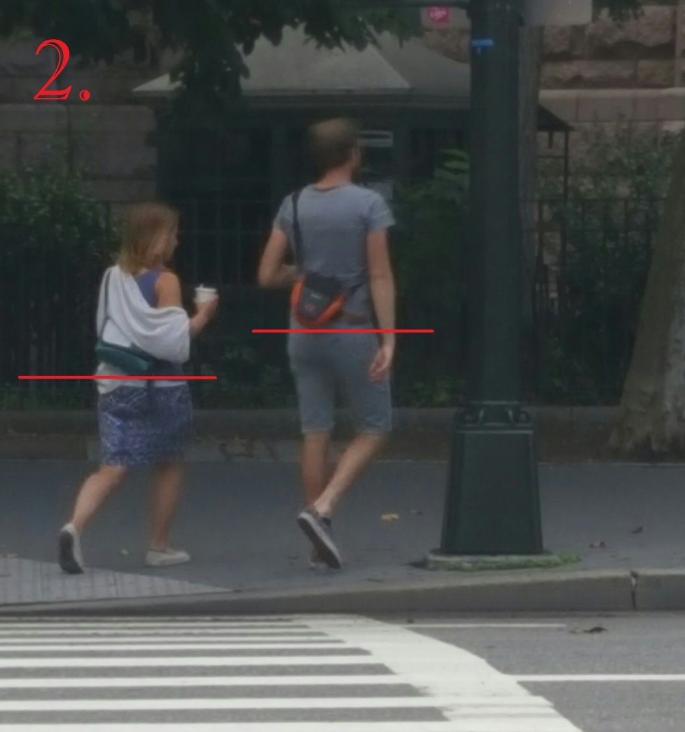 This couple does a great job of carrying their belongings above their hips. This keeps excess stress off of their lower spine, and can even make your belongings feel lighter